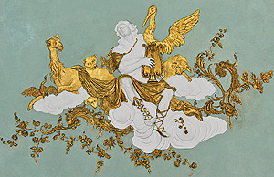 Picture: Orpheus, section from the stucco decoration at the ceiling in the music room