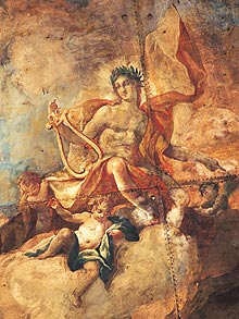 Picture: Section from the ceiling painting showing Apollo