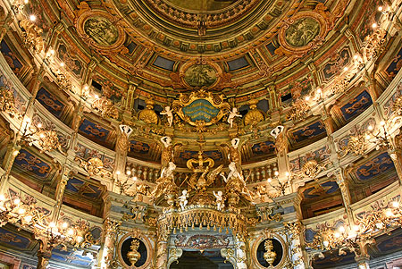 Picture: Margravial Opera House Bayreuth after the restoration, view of the princes' lodge, balconies, and ceiling